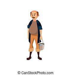 standing, lavoro, illustrazione, vettore, secchio, maturo, contadino, maschio, cartone animato, giardiniere