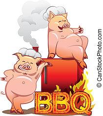 standing, lettere, urente, chef, due, fumatore, maiali, rosso, sorridente, cappelli, bbq