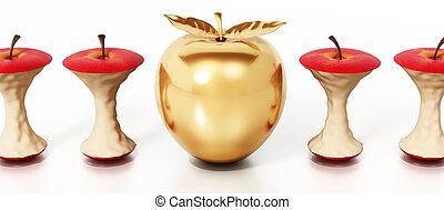 standing, mela dorata, illustrazione, mangiato, fuori, cores., 3d