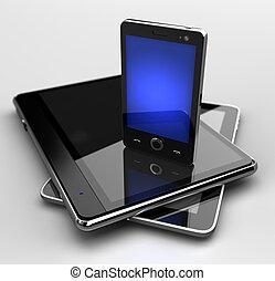 standing, mobile, ardendo, telefono, blocchi, digitale