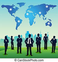 standing, paesaggio urbano, persone affari