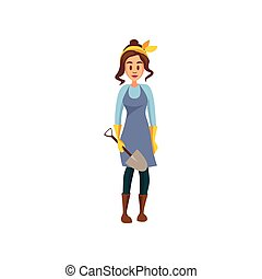 standing, pala, lavoro, giovane, illustrazione, vettore, femmina, contadino, cartone animato, giardiniere