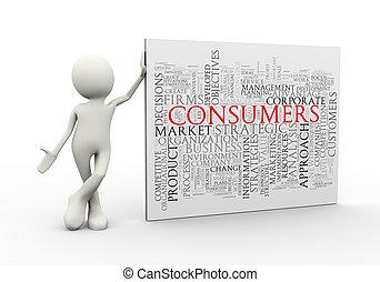 standing, parola, consumatori, etichette, wordcloud, uomo, 3d