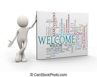 standing, parola, etichette, benvenuto, wordcloud, uomo, 3d