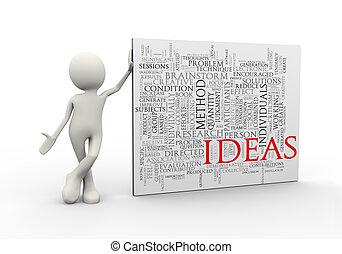 standing, parola, etichette, idee, wordcloud, uomo, 3d