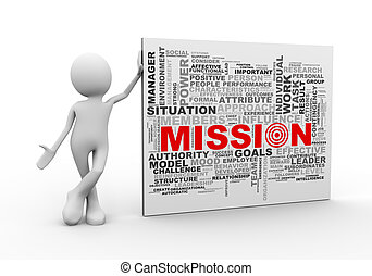 standing, parola, etichette, missione, wordcloud, uomo, 3d