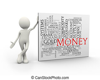 standing, parola, etichette, soldi, wordcloud, uomo, 3d