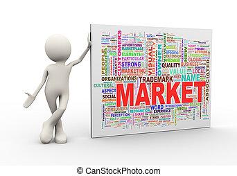 standing, parola, etichette, wordcloud, uomo, mercato, 3d