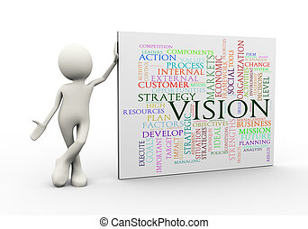 standing, parola, etichette, wordcloud, uomo, visione, 3d