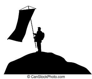 standing, parte superiore montagna, grande, bandiera, presa a terra, uomo