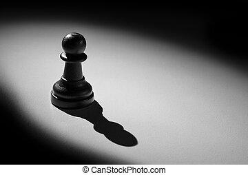 standing, pegno, fare, scacchi, uggia, riflettore