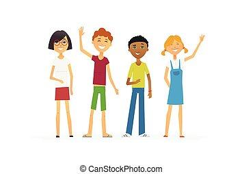 standing, persone, -, isolato, illustrazione, cartone animato, caratteri, bambini, felice
