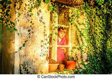 standing, poco, finestra, ragazza