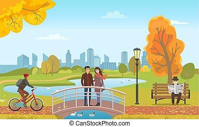 standing, ponte, coppia, motociclista, vettore, uomo