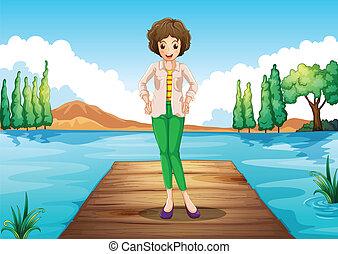 standing, ponte, donna, legno, sopra, fiume