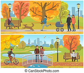 standing, ponte, set, coppia, parco, autunno, vettore