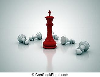 standing, re, sopra, -, gioco, scacchi