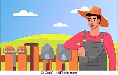 standing, recinto, pale, giardiniere, attrezzi, closeup, rastrelli, giardino, cappello, giovane, tools.