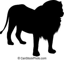 standing, silhouette, illustrazione, leone, vettore, sfondo nero, bianco
