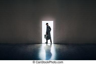 standing, silhouette, stanza, apertura, luce, scuro, porta, uomo