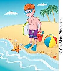 standing, spiaggia, capretto