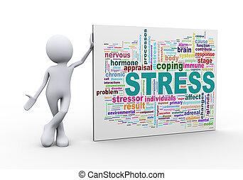 standing, stress, parola, etichette, wordcloud, uomo, 3d