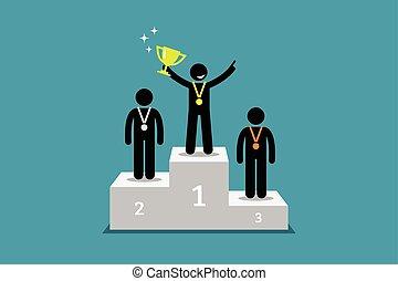 standing, su., campione, corridore, secondo, podio, primo