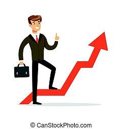 standing, successo, riuscito, grafico, illustrazione, freccia, vettore, uomo affari, rosso