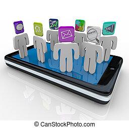 standing, telefono, app, far male, persone