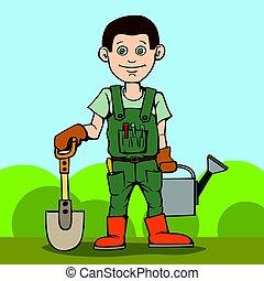 standing, tool., suo, giardino, can., irrigazione, pala, giardiniere, felice