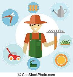 standing, tools., activities., giardino, icone, ambientale, set, giardinieri, giardinaggio, loro, uomo