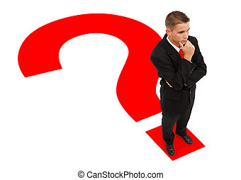 standing, uomo affari, punto interrogativo