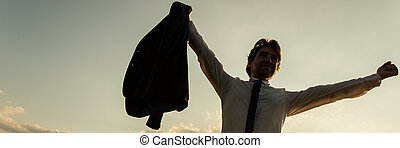 standing, uomo affari, victoriously