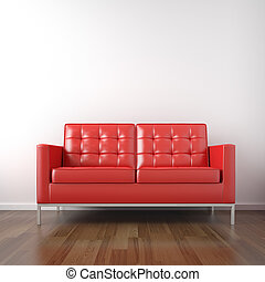 stanza bianca, rosso, divano