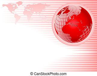 stanza dentellare, testo, astratto, base, fondo, strisce, wiremesh, globo, rosso