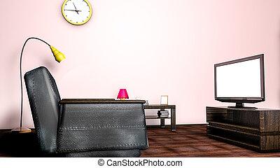 stanza, divano, interpretazione, tv., interno, 3d