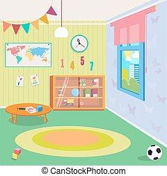 stanza, illustrazione, asilo, toys., vettore, interno