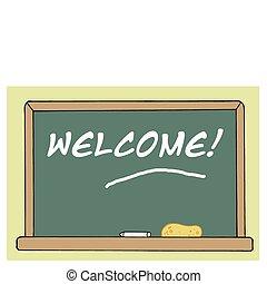 stanza, lavagna, classe, benvenuto