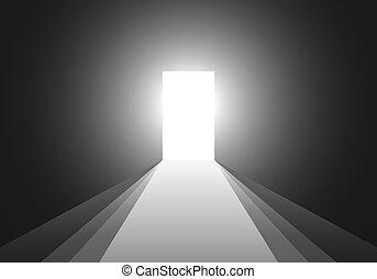 stanza, luce, door., vettore, attraverso, aperto, illustration.