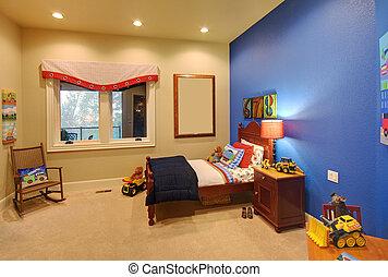 stanza, moderno, bambini, casa