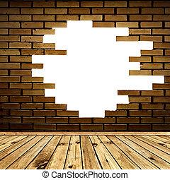 stanza, parete, mattone, rotto