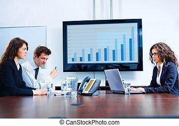 stanza riunione, affari, asse