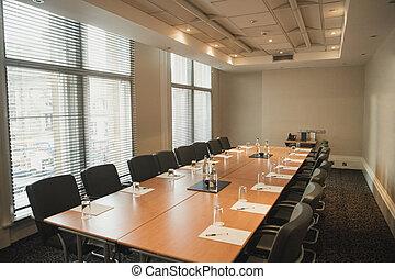 stanza riunione, vuoto, asse