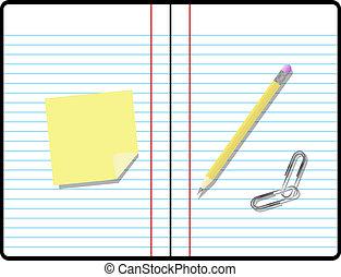 stanza, testo, nota appiccicosa, carta quaderno, composizione, tuo, matita