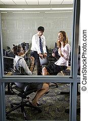 stanza, tre, biblioteca, computer, insegnanti, riunione