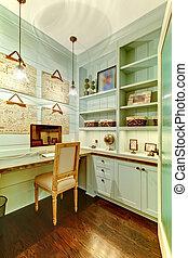 stanza, ufficio, closet., -, piccolo, casa
