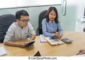 stanza, vendite, rapporti, squadra, analizzare, riunione