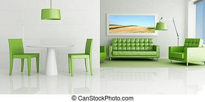stanza, verde, vivente, bianco