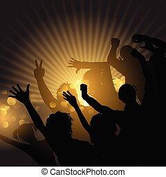starburst, fondo, folla, festa