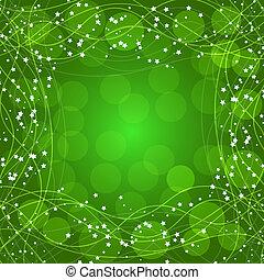 stars., bordo, fondo, linee, verde, illustration.